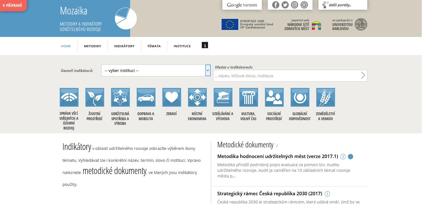 Mozaika - Metodiky a indikátory udržitelného rozvoje